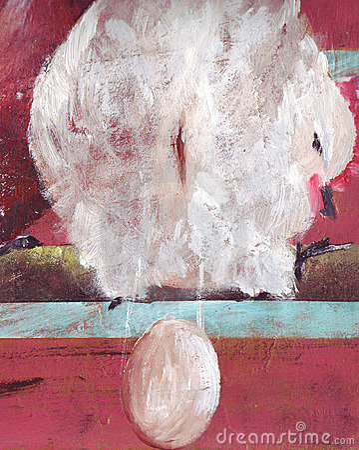 Hen lays an egg