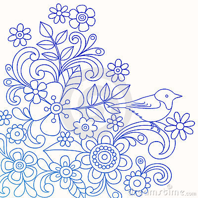 Henna Abstract Flower and Bird Doodle Vector