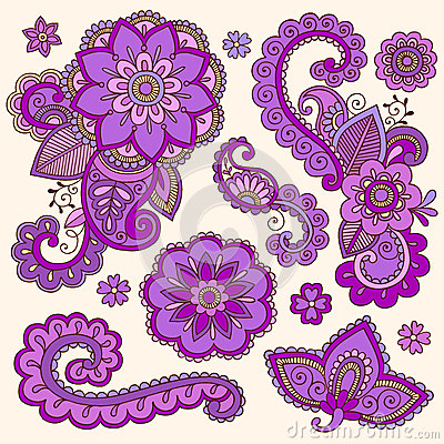 Henna Colorful Mehndi Tattoo Doodles Vector