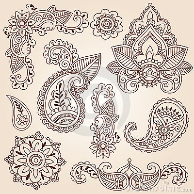 Henna Doodles Mehndi Tattoo Design Elements Set