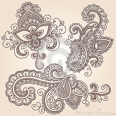 Free Henna Doodles Mehndi Tattoo Vector Design Elements Royalty Free Stock Images - 25834949
