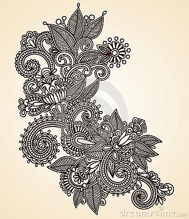 Henna fower design element