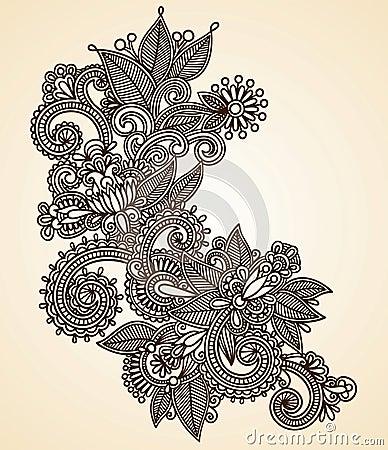 Henna fower design element