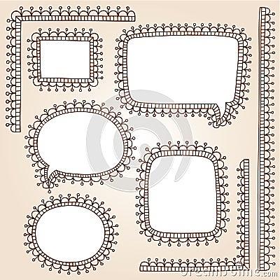 Henna Frame Doodles Mehndi Tattoo Vector