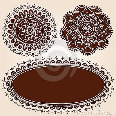 Henna Frame and Flowes Silhouette Vector Designs