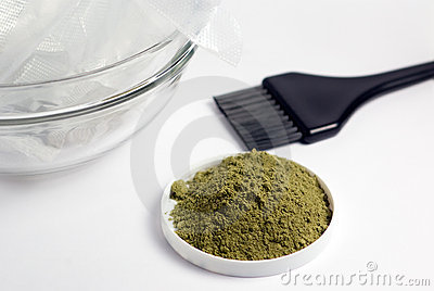 Henna hair dye with hair dying tools