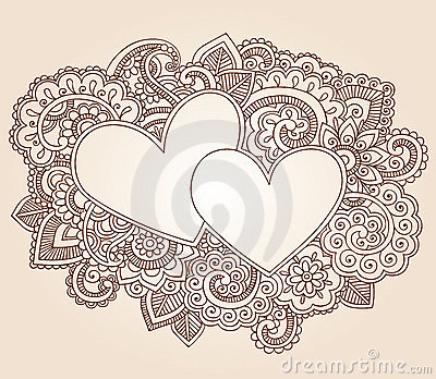 Henna Hearts Valentine s Day Vector