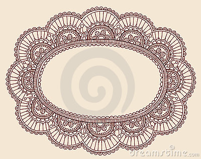 Henna Lace Doily Paisley Doodle Frame Design
