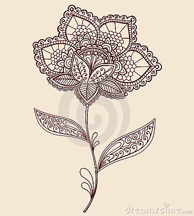 Free Henna Lace Doily Paisley Flower Doodle Design Royalty Free Stock Images - 17733629