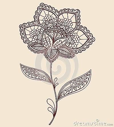 Henna Lace Doily Paisley Flower Doodle Design