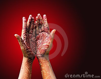 Henna (mehendi) decoration on a hindu bride s hand