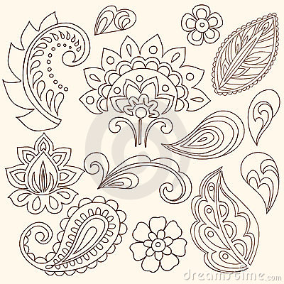 Free Henna Mehndi Flowers And Paisley Vector Stock Image - 13174221