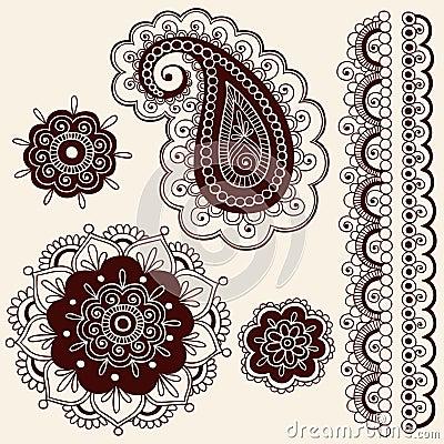 Free Henna Mehndi Flowers And Paisley Vector Stock Image - 13966451