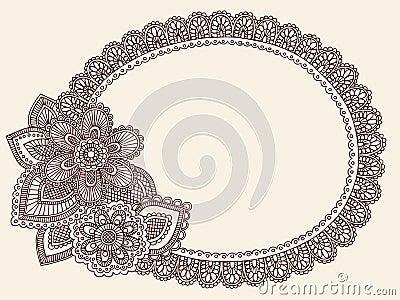 Henna Mehndi Lace Doily Paisley Doodle Vector
