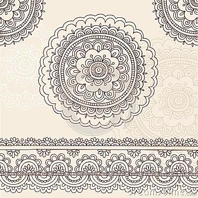 Henna Mehndi Mandala Doodle Vector Design Elements
