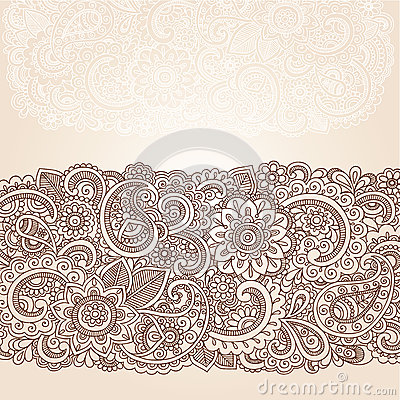 Henna Mehndi Paisley Border Design Vector