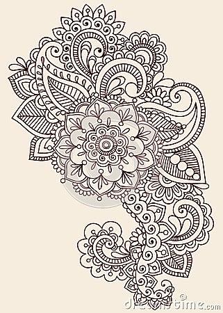 Henna Mehndi Paisley Doodle Vector Design