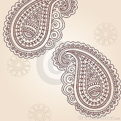 henna mehndi paisley doodle vector design elements stock