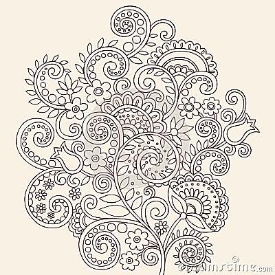 Free Henna Mehndi Paisley Doodle Vines And Flowers Stock Photos - 17733623