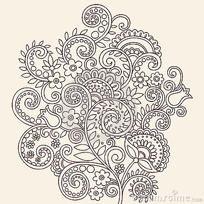 Henna Mehndi Paisley Doodle Vines and Flowers