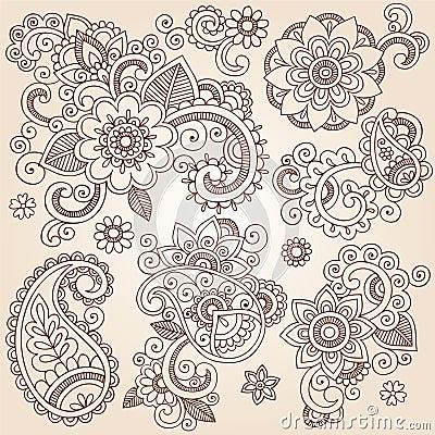 Free Henna Mehndi Paisley Flowers Vector Tattoo Illustr Royalty Free Stock Image - 28440656