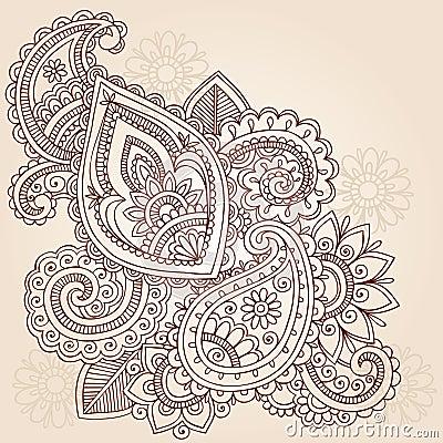 Henna Mehndi Paisley Tattoo Doodle Design