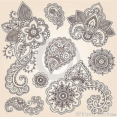 Henna Mehndi Tattoo Paisley Doodles Vector