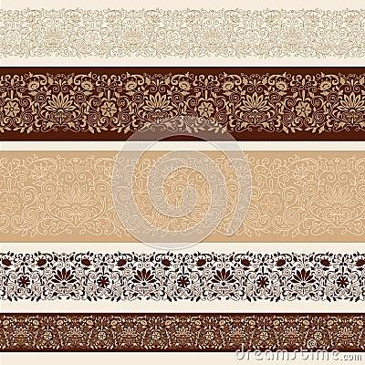 Henna Mehndi Vector Border Design Elements