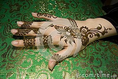 Henna molhado na mão