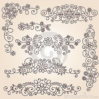 Henna Paisley Vines and Flowers Vector Set