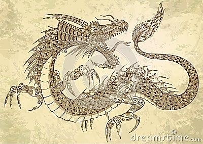 Henna Tattoo Dragon Doodle