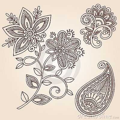 Free Henna Tattoo Flower Doodle Vector Design Elements Stock Images - 22967634