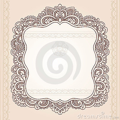 Henna Tattoo Flower Frame Doodle Vector Design