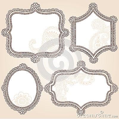 Henna Tattoo Flower Frames Doodle Vector Design