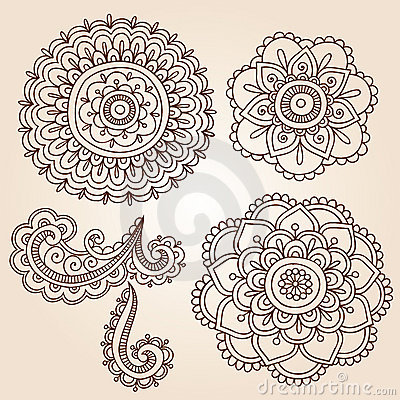 Henna Tattoo Flower Mandala Doodle Vector Designs