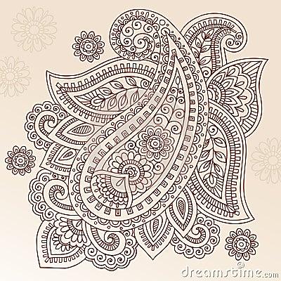 Henna Tattoo Flower Paisley Doodle Vector Design