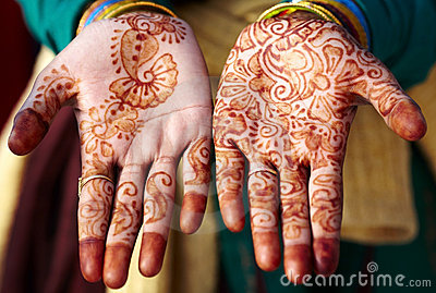 Henna tattoo hand art in India