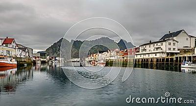 Henningsvaer, fishing village in the Lofoten archipelago, Norway Stock Photo