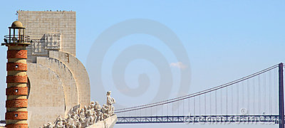 Henry the Navigator Monument and bridge, Lisbon Editorial Photo