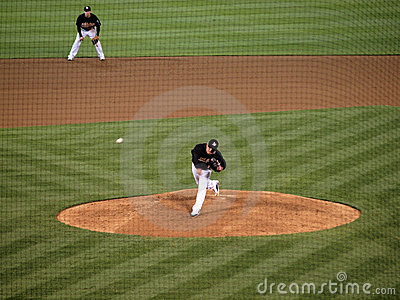 Henry Rodriguez throws pitch, ball in air Editorial Stock Photo