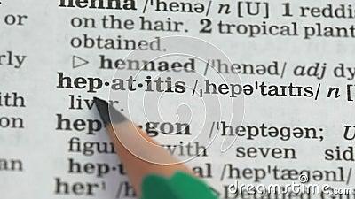 Hepatite, definição de palavra na página do dicionário em inglês, percepção de doenças graves filme