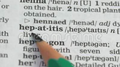 Hepatitis, word definition on english dictionary page, severe disease awareness. Stock footage stock footage