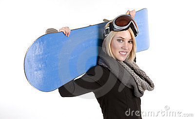 Beautiful Female Poses With Her Sport Snow Board
