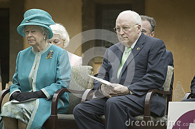 Her Majesty Queen Elizabeth II and Dick Cheney Editorial Stock Photo