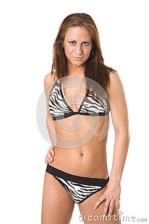 In Her Zebra Print Bikini