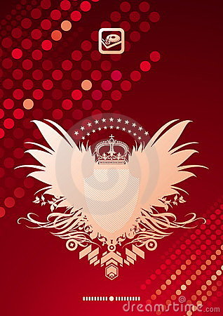 Heraldic coat of arms on glittering background