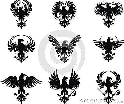 Heraldic eagle coat of arms set
