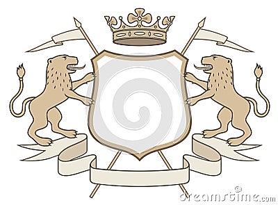 Heraldic emblem: crown & lions
