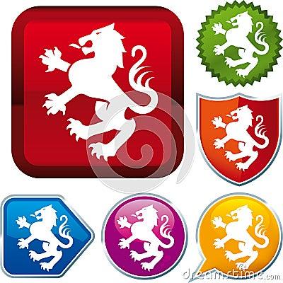 Heraldic lion icon