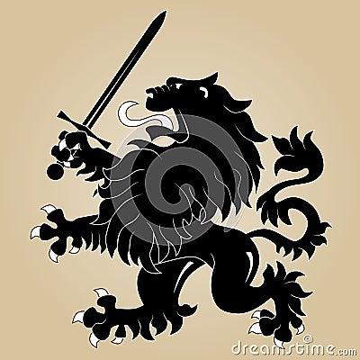 Heraldic lion with sword
